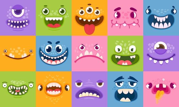 Twarze potworów. śmieszne kreskówki potworów głowy, oczy i usta. straszne postacie dla dzieci. halloweenowe potwory lub kosmici emocje wektor zestaw. diabeł śliczna głowa, halloweenowa bestia straszna ilustracja