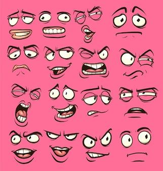 Twarze z kreskówek o różnych wyrazach
