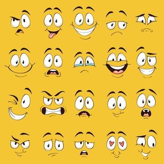 Twarze z kreskówek. śmieszne miny, karykaturalne emocje. urocza postać z różnymi wyrazistymi oczami i ustami, kolekcja emotikonów szczęśliwego języka