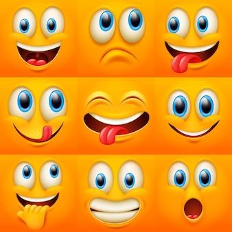 Twarze z kreskówek. śmieszne miny, karykaturalne emocje. urocza postać z różnymi wyrazistymi oczami i ustami, kolekcja emotikonów