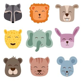 Twarze zwierząt ładny wektor. idealny do tworzenia wzorów do pokoju dziecięcego.