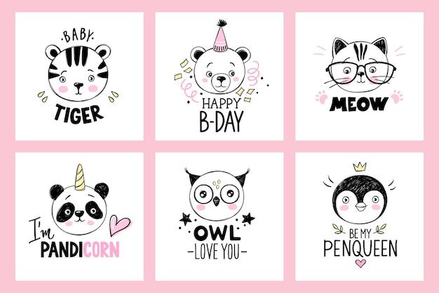 Twarze zwierząt w stylu szkicu. doodle zwierzęta. śmieszne cytaty.
