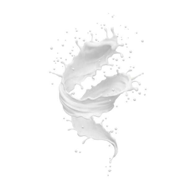 Twister mleka, trąba powietrzna lub realistyczny splash tornado. biała fala wirowa youhurt z rozpryskami i kroplami. na białym tle ruch płynny z rozproszonymi kropelkami, wlewając produkt mleczny. realistyczny wektor 3d