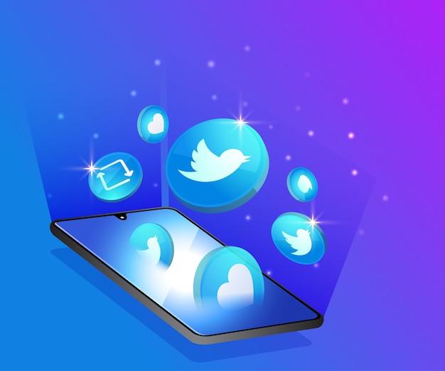 Twitter 3d ikony mediów społecznościowych z symbolem smartfona