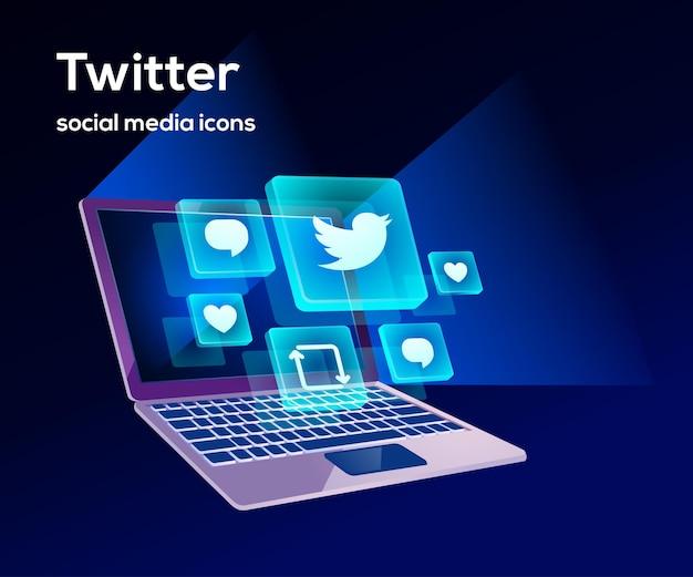Twitter ikony mediów społecznościowych z symbolem laptopa
