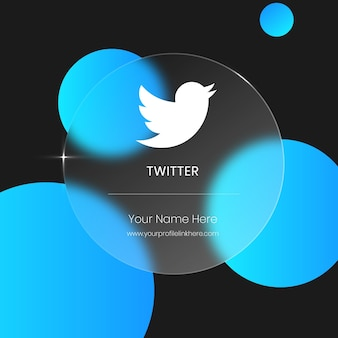Twitter przezroczysta, niewyraźna szklana karta do mediów społecznościowych