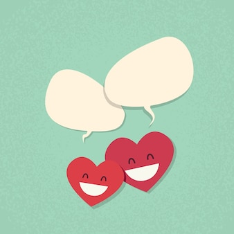 Two red heart shape love couple chat