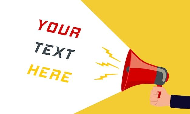 Twój tekst tutaj - znak reklamowy z megafonem. retro megafon z tekstem na kolorowym tle wpólnie. ludzka ręka trzyma rupor z przestrzenią dla teksta. głośnik. ilustracja,