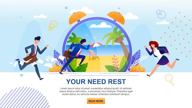 Twoja potrzeba odpoczynku motywacja. kreskówka działający biznesmeni. płaski baner z przeciążonymi postaciami męskimi i żeńskimi. metafora ogromny zegar z pogodną plażą w tropikalnym kraju.