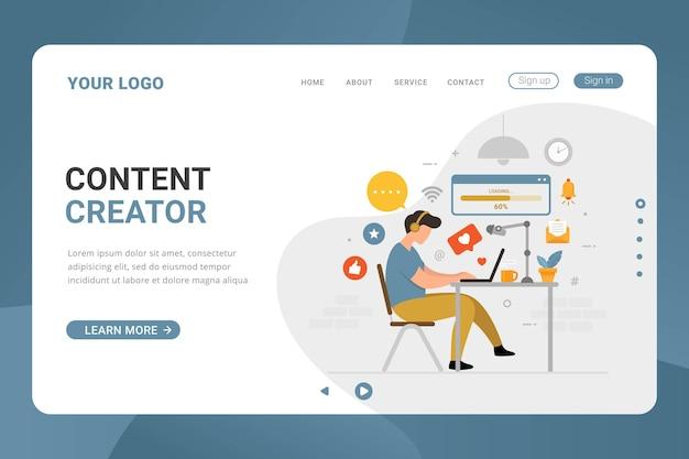 Twórca treści szablonu strony docelowej freelancer koncepcja projektowania grafiki wektorowej