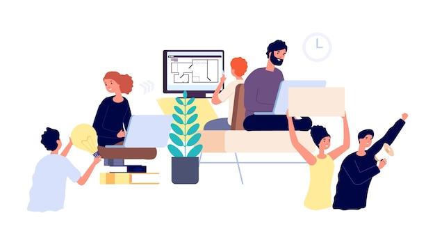 Twórcy produktów. realizacja projektów biznesowych od pomysłu do uruchomienia. praca zespołowa, ludzie pracujący krok po kroku. pomysł i marketing, ilustracja wektorowa łańcucha freelancerów. projekt uruchomienia rozwoju