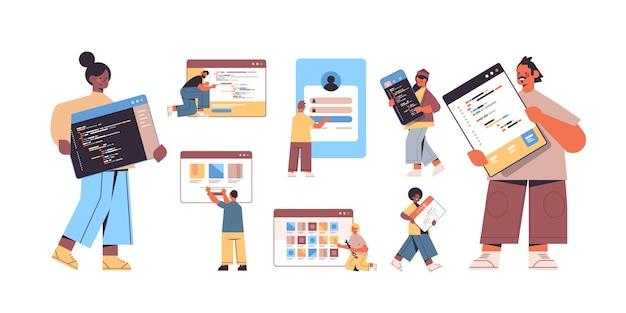 Twórcy stron internetowych set mix race tworzący koncepcję programowania oprogramowania do tworzenia aplikacji