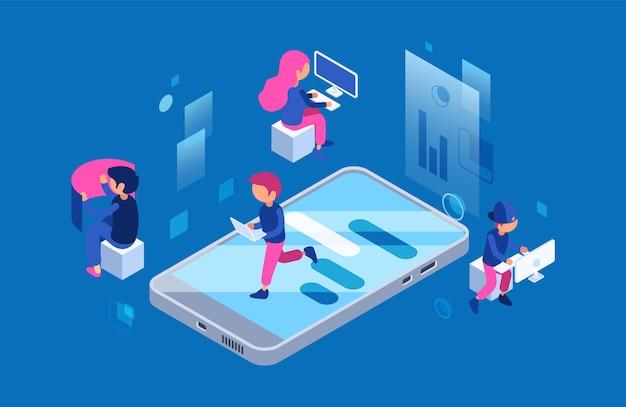 Twórcy stron internetowych w pracy. kobiet i mężczyzn pracowników it z komputerami i koncepcją wektor smartfona. opracowanie ilustracji i zespół programistyczny