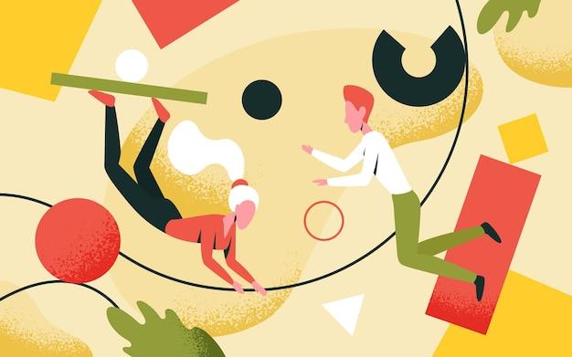 Twórcze rozwiązywanie problemów ludzie trzymający abstrakcyjne figury i formy tworzą rozwiązania