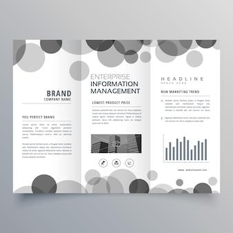 Twórczy czarny okrąg trifold szablon projektu broszury
