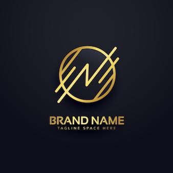 Twórczy literę n premium projektowanie logo