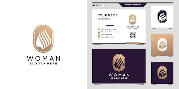 Twórczy logo kobiety z nowoczesną koncepcją negatywnej przestrzeni i projektowaniem wizytówek. wektor premium