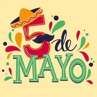 Twórczy napis cinco de mayo