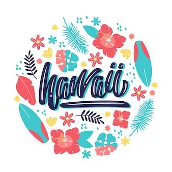 Twórczy napis na hawajach