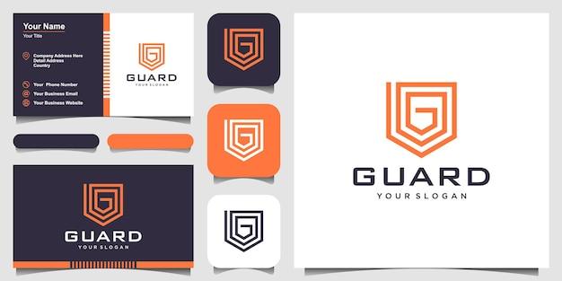 Twórczy tarcza z literą g koncepcja logo design szablony. projekt wizytówki