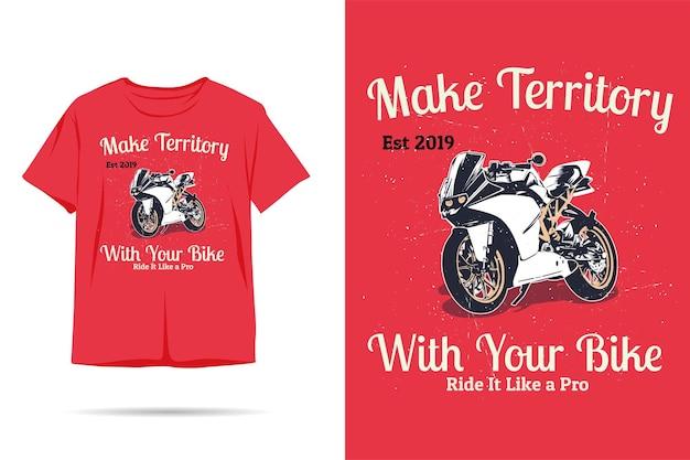 Twórz terytorium dzięki projektowi koszulki z sylwetką roweru