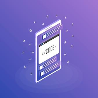 Tworzenie aplikacji mobilnych, aplikacja mobilna. nowoczesne mieszkanie izometryczny styl ilustracji