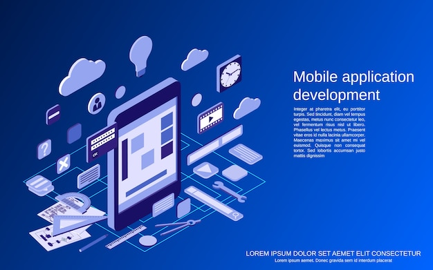 Tworzenie aplikacji mobilnych, ilustracja koncepcji izometrycznej kodowania programów