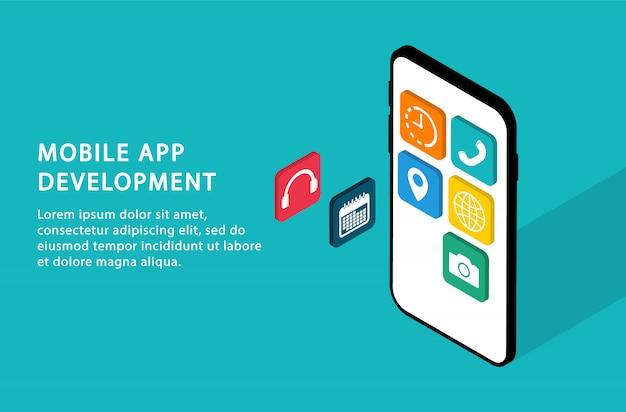 Tworzenie aplikacji mobilnych. rozwój interfejsu użytkownika. izometryczny. nowoczesne strony internetowe dla witryn internetowych.