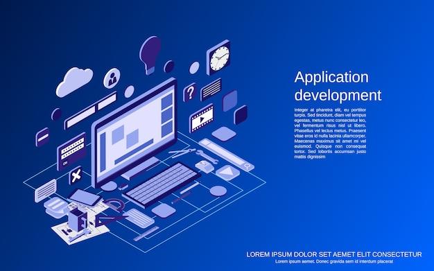 Tworzenie aplikacji, proces seo, ilustracja koncepcji izometrycznej optymalizacji algorytmu