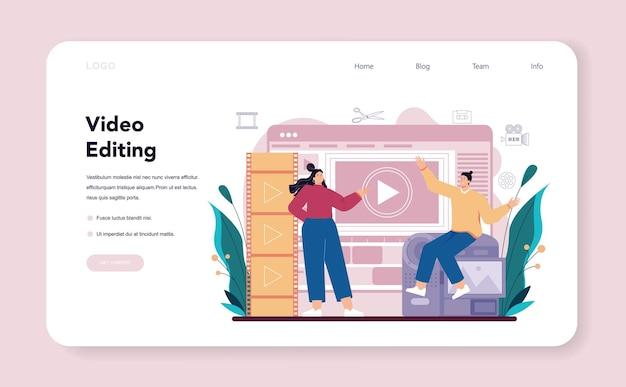 Tworzenie banerów internetowych lub stron docelowych przez projektanta ruchu lub wideo