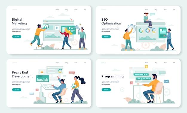 Tworzenie front-endu, programowanie zestawu koncepcji banerów internetowych. zawód sieciowy, np. programista i programista, optymalizacja oprogramowania. ilustracja w stylu
