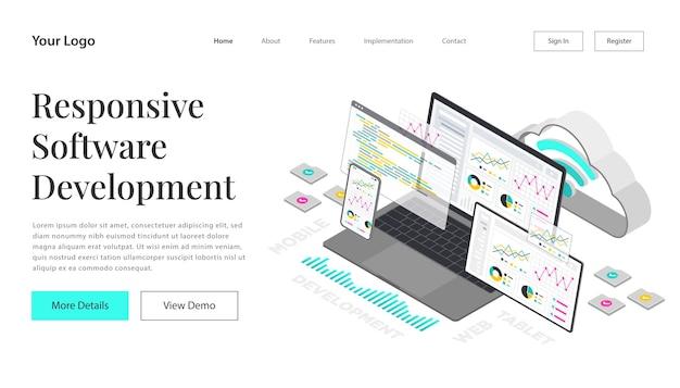 Tworzenie i kodowanie strony docelowej w sieci www. witryna programistyczna dla wielu platform. adaptacyjny układ interfejsu użytkownika na ekranie laptopa, tabletu i telefonu. ilustracja koncepcja izometryczna. technologia chmurowa.