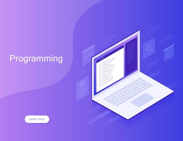 Tworzenie i programowanie oprogramowania, kod programu na ekranie laptopa, przetwarzanie dużych danych. nowoczesna ilustracja