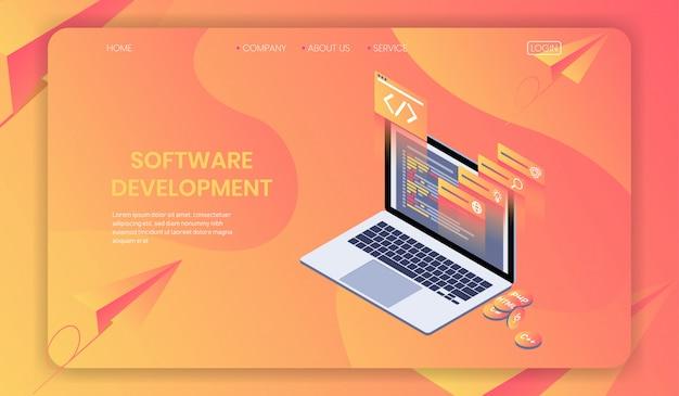 Tworzenie oprogramowania i tworzenie stron internetowych koncepcja izometryczna