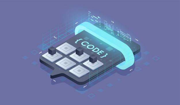 Tworzenie oprogramowania, koncepcja programowania, przetwarzanie danych. ilustracja wektorowa izometryczny.