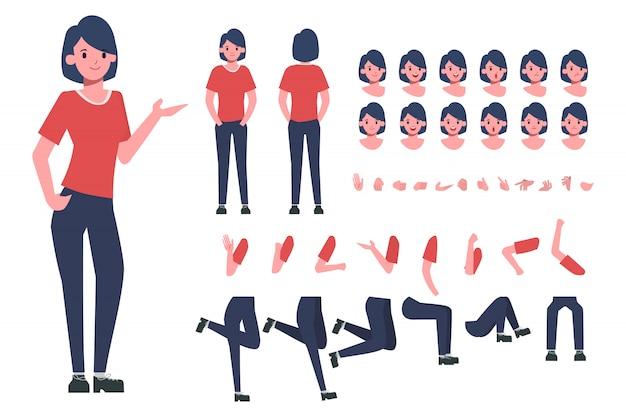 Tworzenie postaci młodej kobiety do animacji. gotowy do animacji.