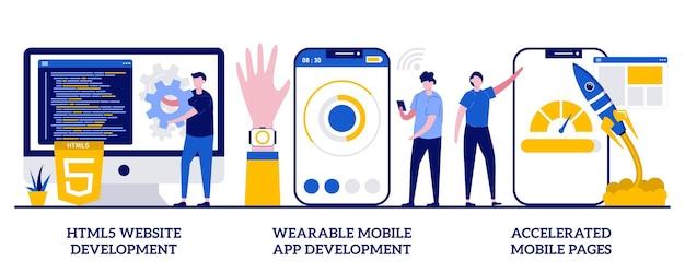 Tworzenie stron internetowych html5, aplikacja mobilna do noszenia, koncepcja przyspieszonych stron mobilnych z małymi ludźmi. zestaw ilustracji wektorowych rozwoju oprogramowania i frontendu. metafora responsywnego projektu lądowania.