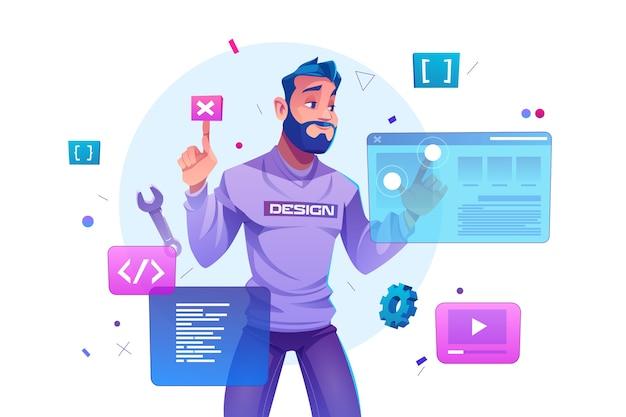 Tworzenie stron internetowych, inżynieria programistów i programowanie stron internetowych na ekranach interfejsu rzeczywistości rozszerzonej. programista inżynier projektu programistyczny lub projekt aplikacji, ilustracja kreskówka