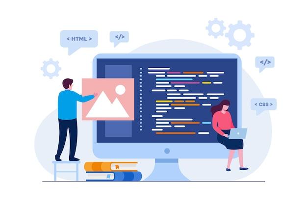 Tworzenie stron internetowych. języki programowania. css, html, to, interfejs użytkownika. programista, programista, tworzenie stron internetowych, kodowanie płaski baner ilustracji