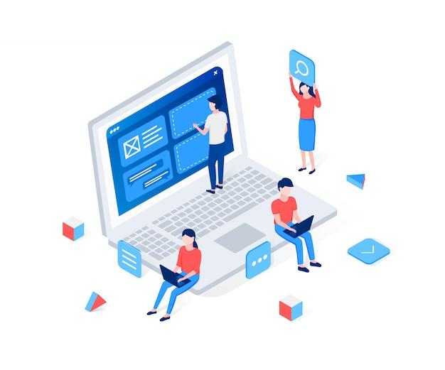 Tworzenie stron internetowych, koncepcja izometryczna interfejsu użytkownika lub interfejsu użytkownika.