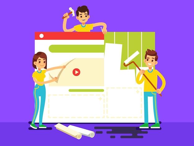 Tworzenie stron internetowych z programistami tworzącymi treści. ilustracja wektorowa budowy sieci