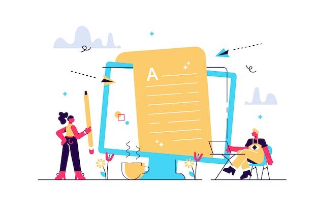 Tworzenie treści, artykuły, pisanie tekstów i edycja pracy zdalnej. marketing przychodzący. praca copywritingowa, copywriter w domu, koncepcja copywritingu niezależnego. ilustracja koncepcja na białym tle
