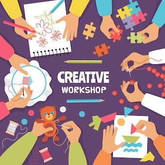 Tworzenie widoku z góry. ręce do szycia dzianiny z papieru i nożyczki dla dzieci podręczny warsztat wektor kolorowe tło. dziecięce rzemiosło artystyczne, szycie, szkicowanie i dziewiarstwo ilustracja
