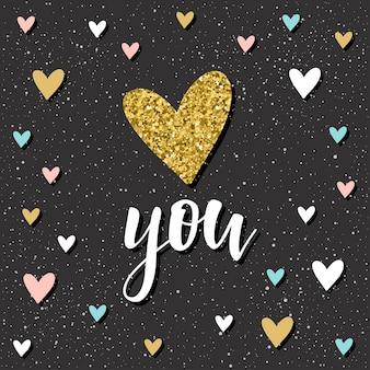Ty. odręczny napis i doodle ręcznie rysowane serce na projekt koszulki, karty ślubne, zaproszenia ślubne, plakat, broszury, notatnik, album itp. złoto tekstury.