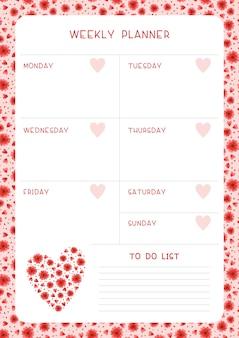 Tydzień harmonogram i czerwone kwiaty i serca. projekt kalendarza z kwiatami i płatkami polnych kwiatów. pusta strona organizatora zadań osobistych dla planisty