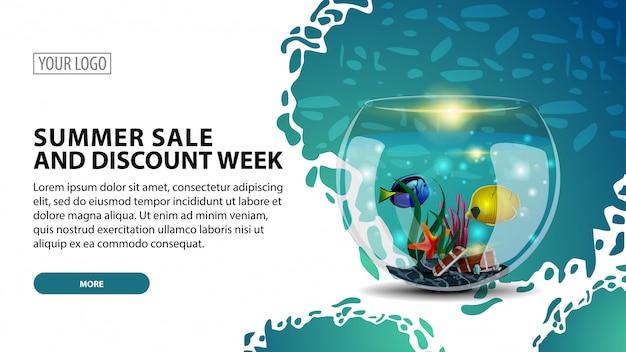 Tydzień letniej sprzedaży i rabatów, nowoczesny baner internetowy