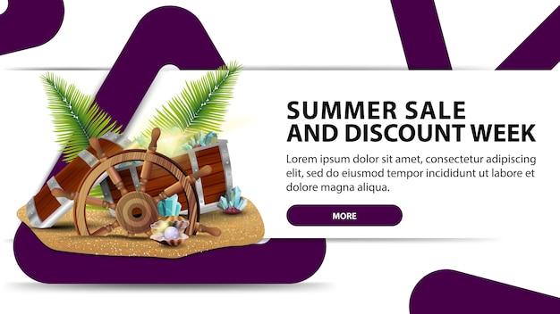 Tydzień sprzedaży i rabatów letnich, kreatywny biały baner internetowy z nowoczesnym designem