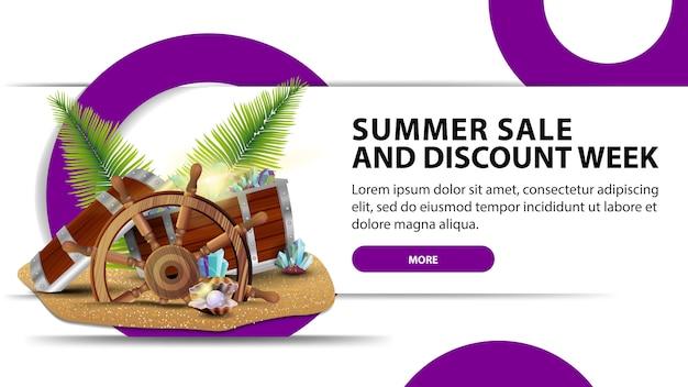 Tydzień sprzedaży i rabatów letnich, kreatywny biały baner internetowy ze skrzynią skarbów