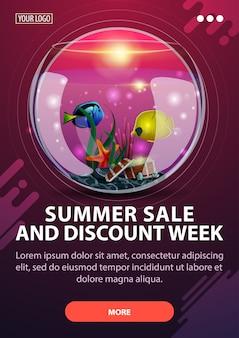 Tydzień sprzedaży i rabatów letnich, pionowy baner rabatowy o nowoczesnym designie