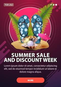 Tydzień sprzedaży i rabatów letnich, pionowy baner rabatowy ze stylem